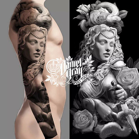 Full sleeve tattoo idea, woman with dagger, roses
