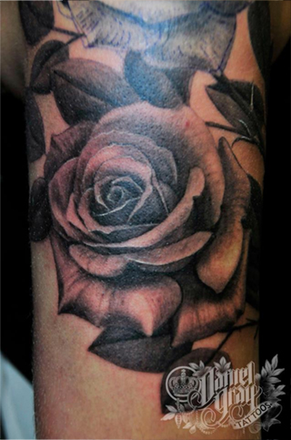 black and grey rose tattoo by Daniel Gray