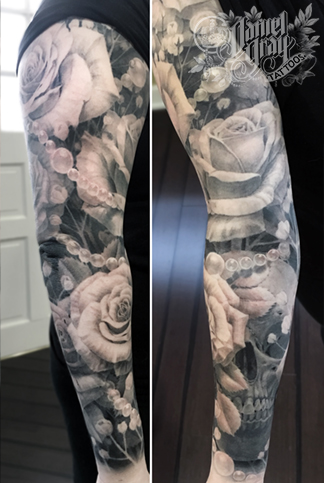 Skull, roses and pearls sleeve, tattoo by Daniel Gray