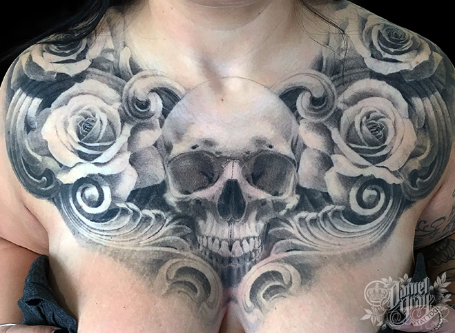 35377af40 Woman Female Girl chest piece, skull, roses tattoo by cincinnati artist  Daniel Gray ...