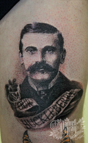 black and gray portrait tattoo by Daniel Gray